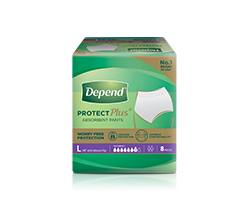 Depend protect plus absorbent pants size L