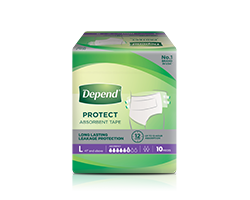 Depend protect plus absorbent tape size L